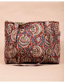 Red and green flowers kalamkari tote bag : TBC06-1-sm