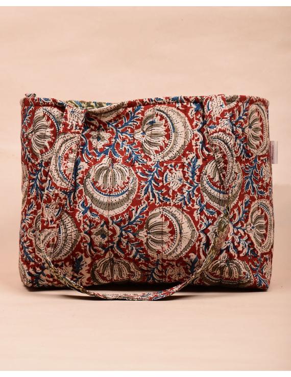 Red and green flowers kalamkari tote bag : TBC06-1