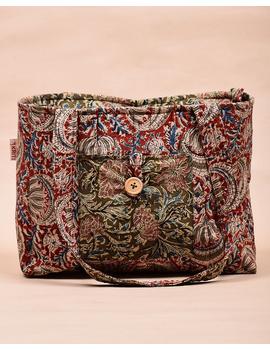 Red and green flowers kalamkari tote bag : TBC06-2-sm