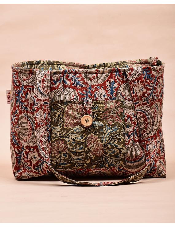 Red and green flowers kalamkari tote bag : TBC06-2