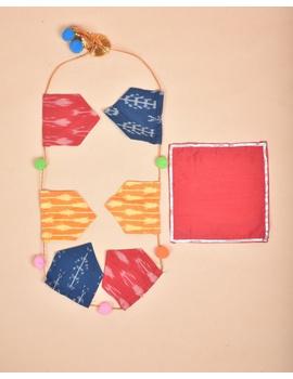 """Eco-friendly clay ganesha 8"""" idol leaf theme with a silk toran and """"aasan"""" cloth-5-sm"""