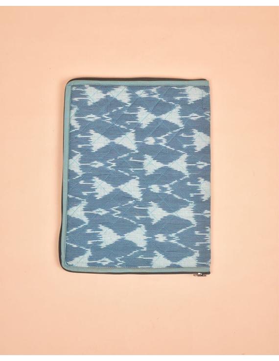 BLUE CHEVRON IKAT FILE FOLDER WITH ZIP : SFZ01-1