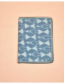 BLUE CHEVRON IKAT FILE FOLDER WITH ZIP : SFZ01-3-sm