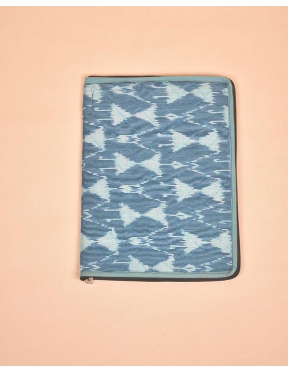 BLUE CHEVRON IKAT FILE FOLDER WITH ZIP : SFZ01-3