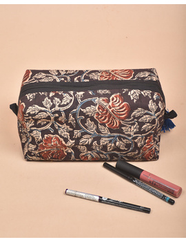 BROWN AND RED KALAMKARI TRAVEL POUCH: VKP02-4-sm
