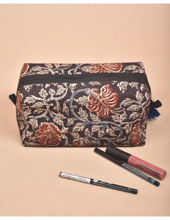 BROWN AND RED KALAMKARI TRAVEL POUCH: VKP02-4