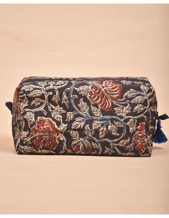 BROWN AND RED KALAMKARI TRAVEL POUCH: VKP02-1