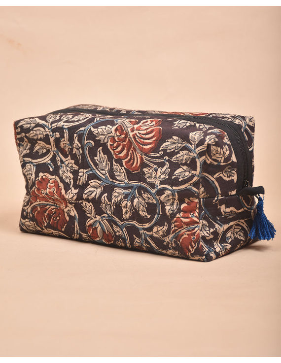BROWN AND RED KALAMKARI TRAVEL POUCH: VKP02-VKP02