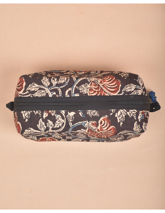 BROWN AND RED KALAMKARI TRAVEL POUCH: VKP02-2