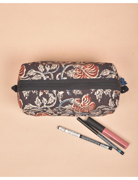 BROWN AND RED KALAMKARI TRAVEL POUCH: VKP02-3-sm