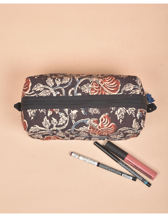 BROWN AND RED KALAMKARI TRAVEL POUCH: VKP02-3