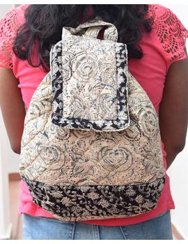 Quilted blue and black kalamkari backpack bag: BPS04-BPS04-sm