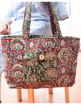 Red and green flowers kalamkari tote bag : TBC06-TBC06-sm