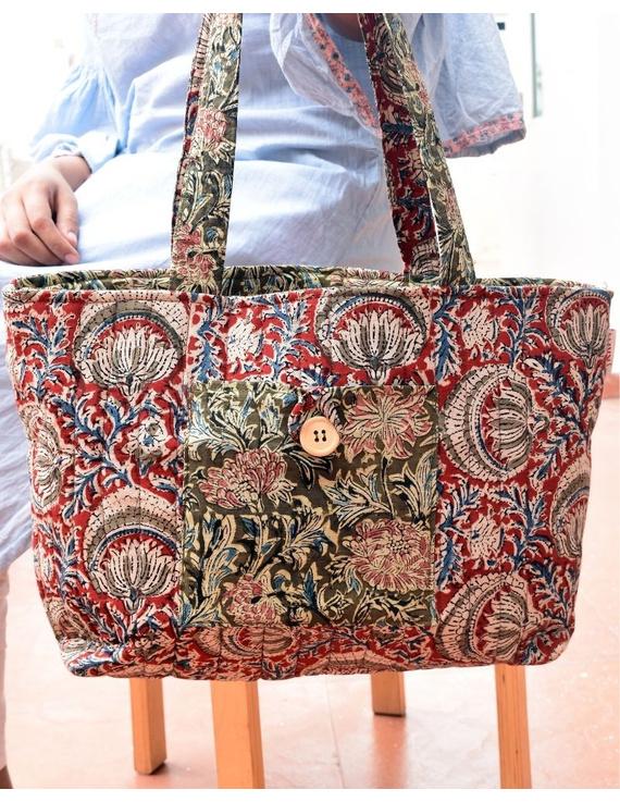Red and green flowers kalamkari tote bag : TBC06-TBC06