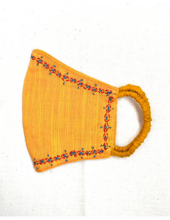 Hand embroidered silk masks-Yellow-2