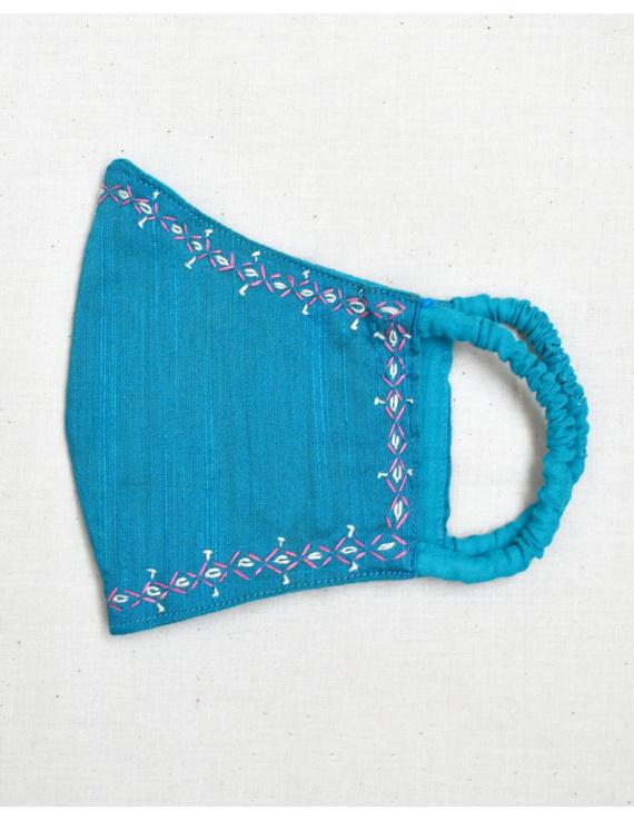 Hand embroidered silk masks-Blue-2