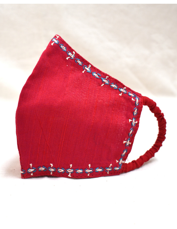 Hand embroidered silk masks-Red-2