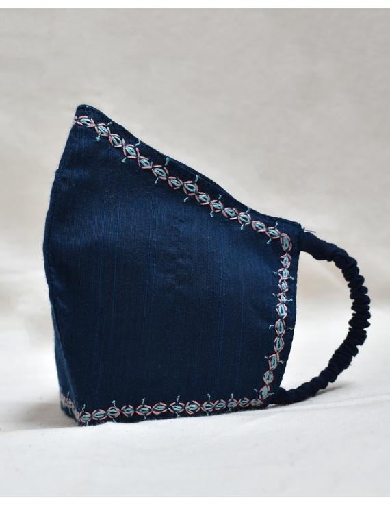 Hand embroidered silk masks-Indigo-2
