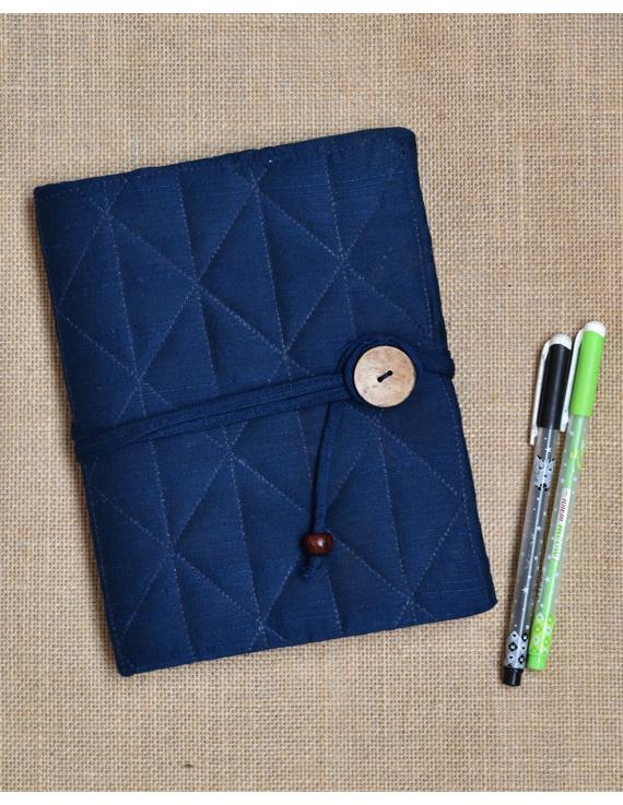 Indigo Silk covered hand made paper diary-STH03