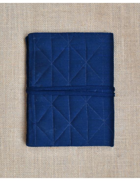 Indigo Silk covered hand made paper diary-2