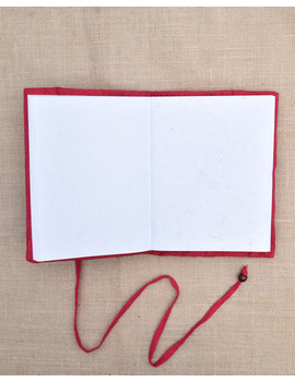 Red Silk covered hand made paper diary-2-sm
