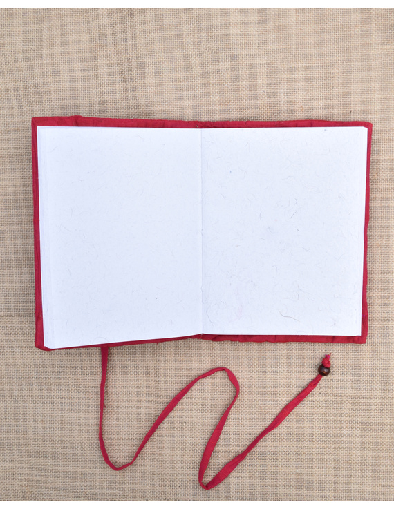 Red Silk covered hand made paper diary-2