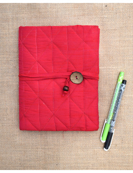 Red Silk covered hand made paper diary-STH04-sm