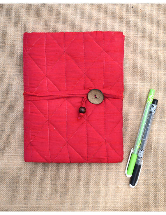 Red Silk covered hand made paper diary-STH04