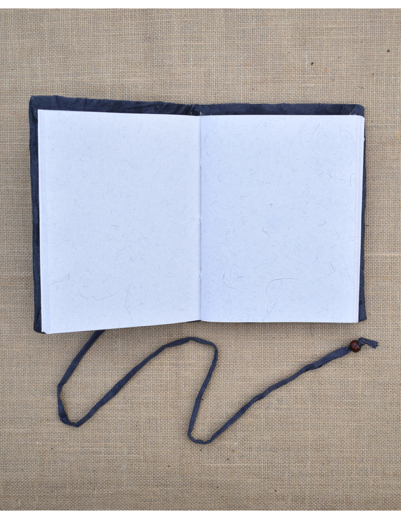 Grey Silk covered hand made paper diary-2