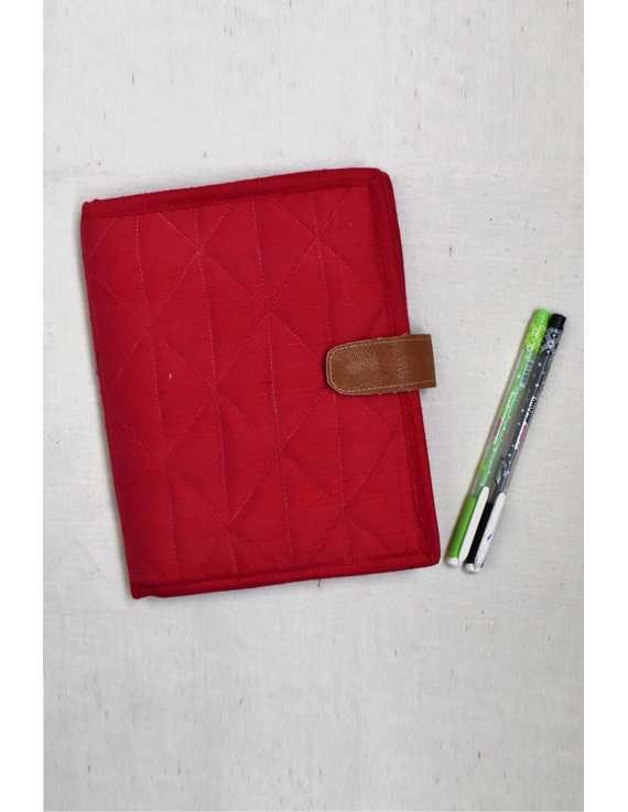 Red Silk covered handmade paper journal with reusable sleeve-STJ08