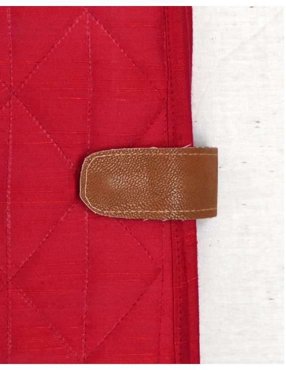 Red Silk covered handmade paper journal with reusable sleeve-4