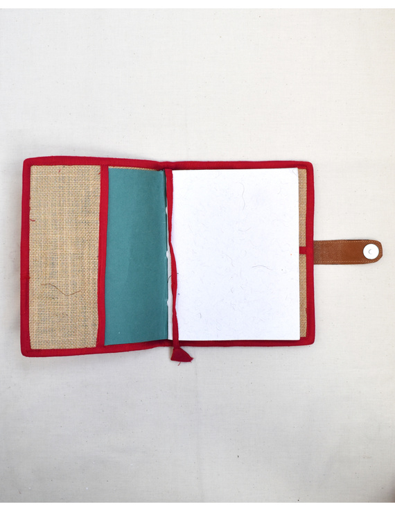 Red Silk covered handmade paper journal with reusable sleeve-3
