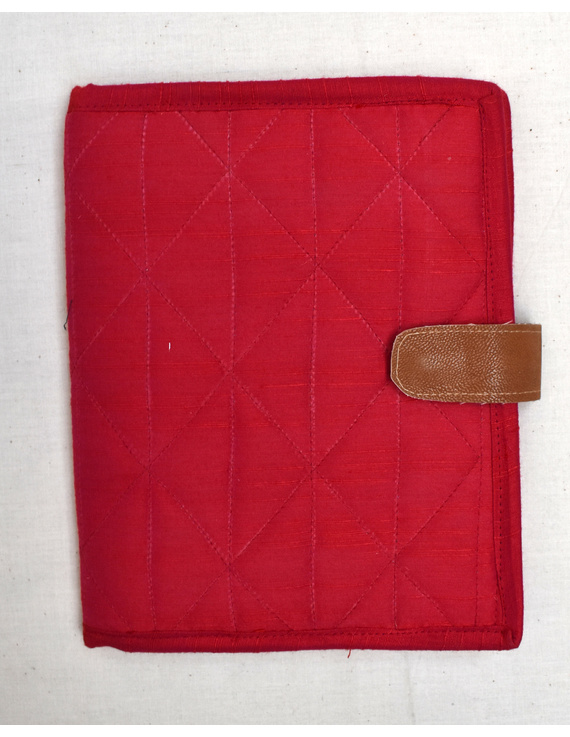 Red Silk covered handmade paper journal with reusable sleeve-1