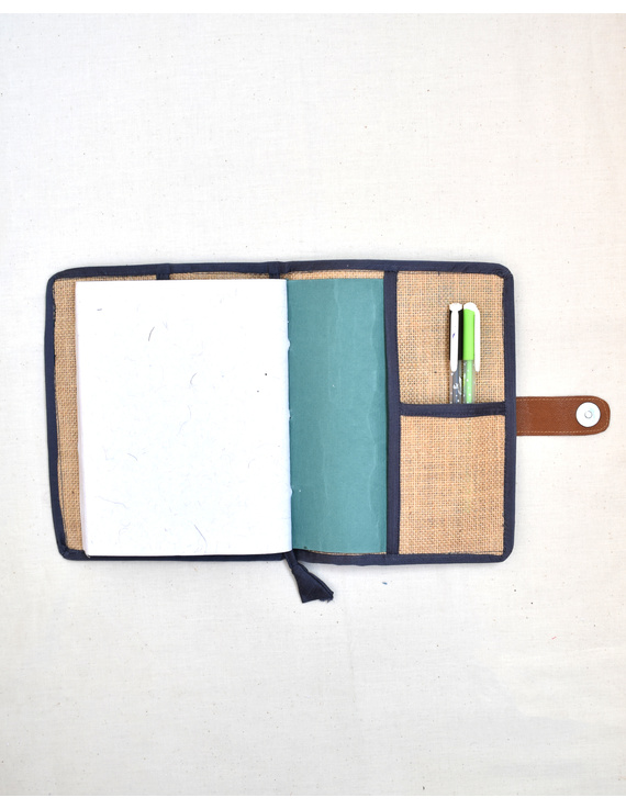 Grey Silk covered handmade paper journal with reusable sleeve-3