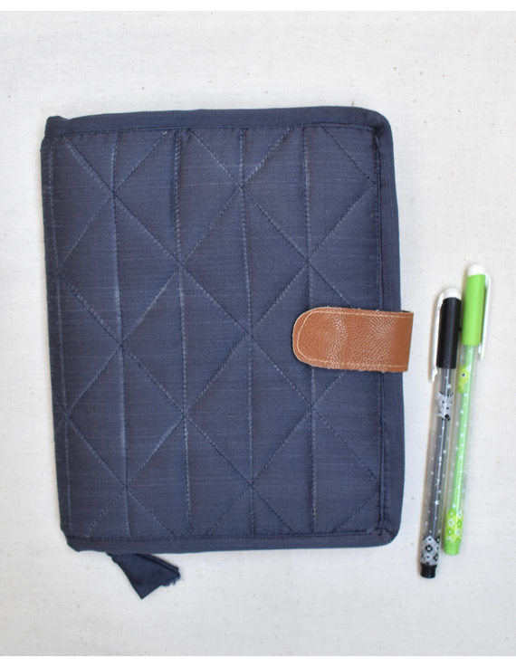 Grey Silk covered handmade paper journal with reusable sleeve-STJ09