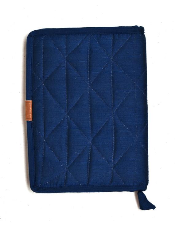 Indigo Silk covered handmade paper journal with reusable sleeve-2