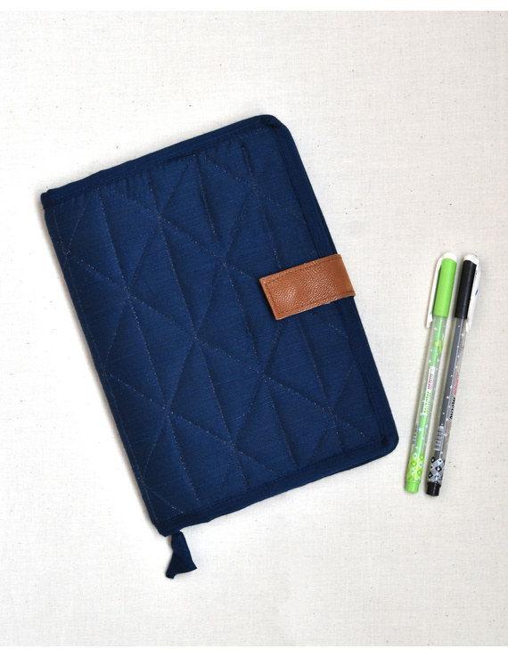 Indigo Silk covered handmade paper journal with reusable sleeve-STJ10