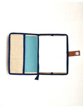 Indigo Silk covered handmade paper journal with reusable sleeve-3-sm