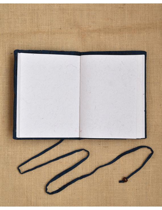 Indigo Silk covered hand made paper diary-4