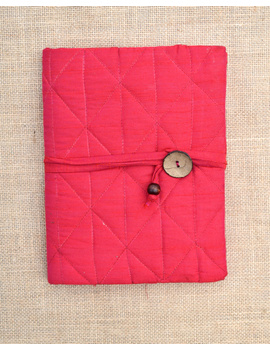 Red Silk covered hand made paper diary-1-sm