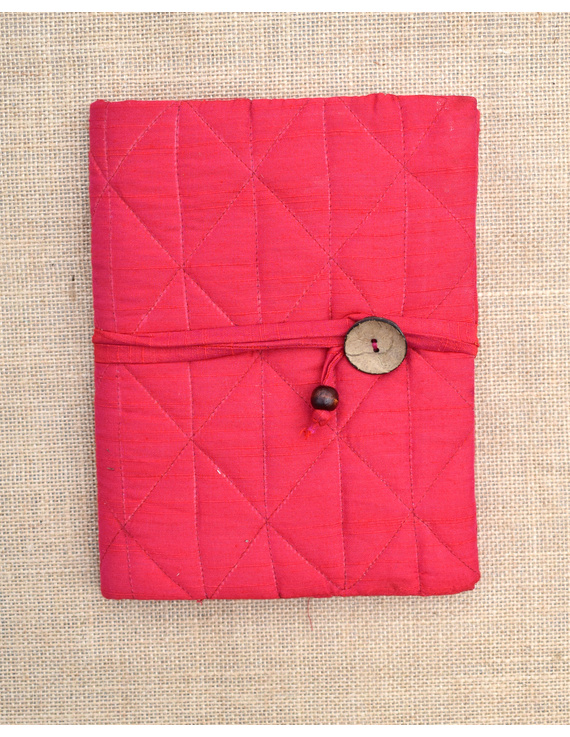 Red Silk covered hand made paper diary-1