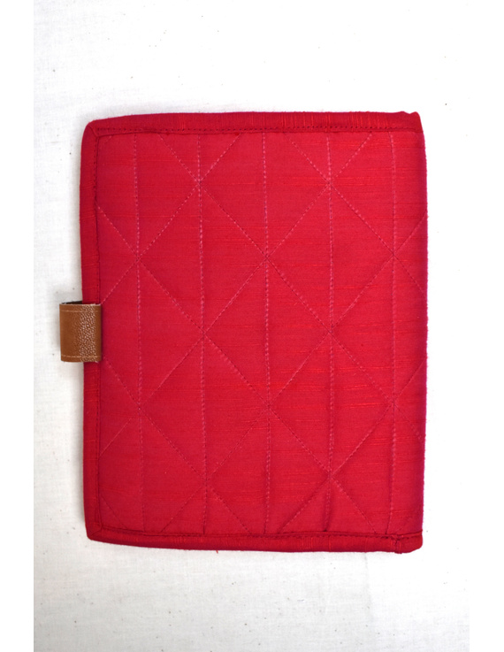 Red Silk covered handmade paper journal with reusable sleeve-2