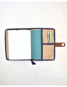 Grey Silk covered handmade paper journal with reusable sleeve-2-sm
