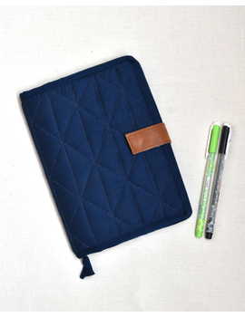 Indigo Silk covered handmade paper journal with reusable sleeve-STJ10-G-sm