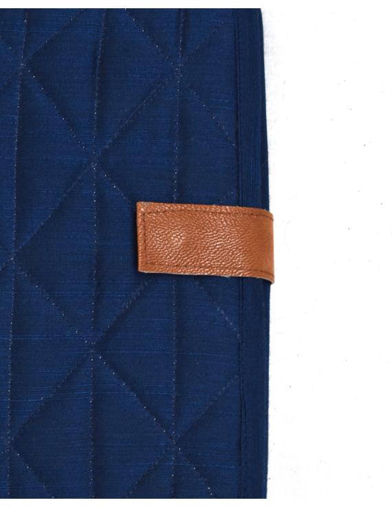 Indigo Silk covered handmade paper journal with reusable sleeve-4