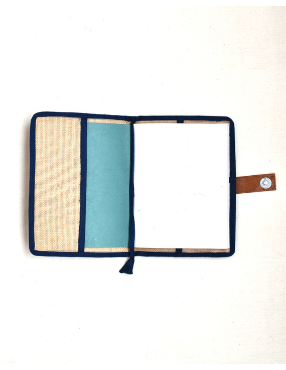Indigo Silk covered handmade paper journal with reusable sleeve-3