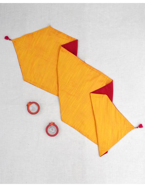 Red 'n' Yellow Silk reversible festive table runner : HTR12-1