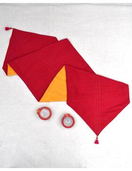 Red 'n' Yellow Silk reversible festive table runner : HTR12-3-sm