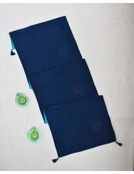 Indigo 'n' Blue Silk reversible festive table runner : HTR13-1-sm