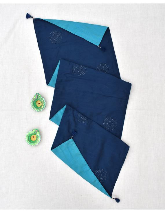 Indigo 'n' Blue Silk reversible festive table runner : HTR13-3